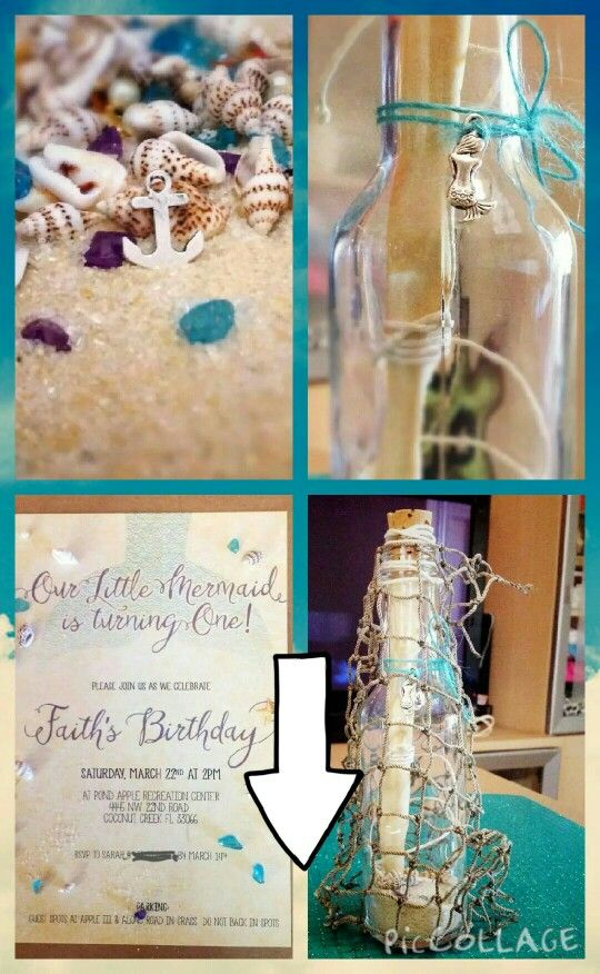 Faith s first little mermaid message in a bottle birthday – Message in a Bottle Birthday Invitations
