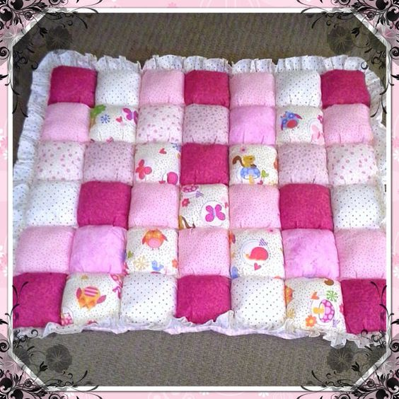 Baby puffs floor mats and quilt on pinterest for Floor quilt for babies