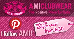 30% off the whole site for friends on facebook, pinterest, google + and twitter. #AMIfriends  www.amiclubwear.com