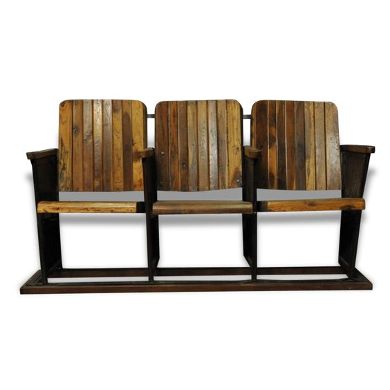 Ancien banc de cinéma à trois sièges