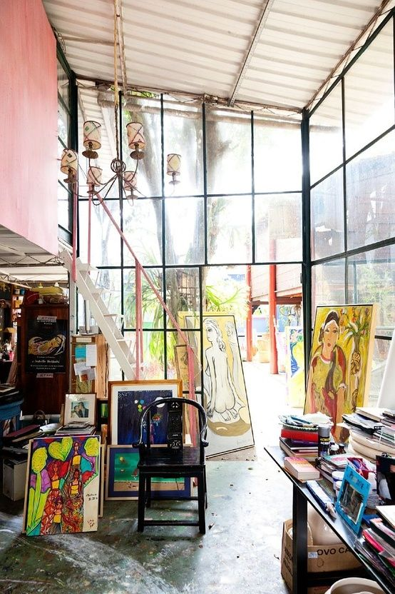 art studio with tons of natural light! I want a room like this in my home :):
