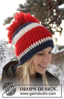 """Crochet DROPS hat in """"Eskimo""""."""