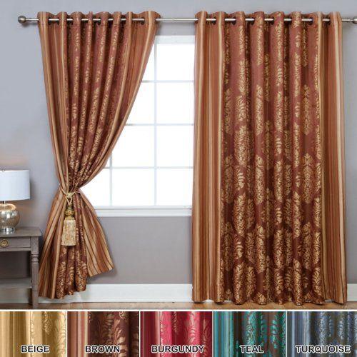 Damask Curtains, Antique Bronze Grommet Curtains