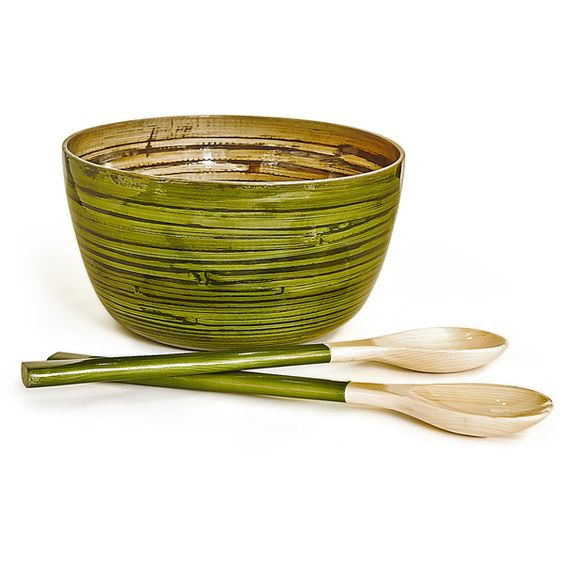 puji Bamboo Salad Bowl & Servers- Moss ($57) found on Polyvore