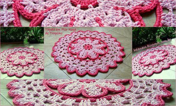 EU TAMBÉM CROCHETO...: Tapete em Flor Rosa de Trapilho (Site has a chart for the pattern- looks like t-shirt yarn, too)