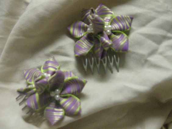 Purple & Green Printed Satin Ribbon Flowers by CraniumDecorAndMore, $4.00