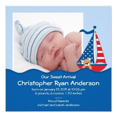 Cute Nautical Sailboat Baby Boy Photo Announcement – Cute Baby Boy Announcements