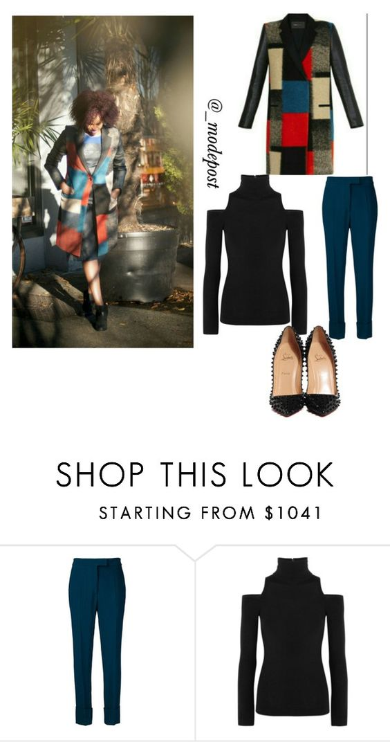 """""""Loving Color Block!"""" by mdelam ❤ liked on Polyvore featuring Elie Saab, Donna Karan and Christian Louboutin"""