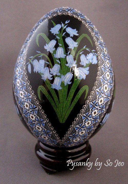Bluebells Pysanky Ukrainian Easter Egg by So Jeo