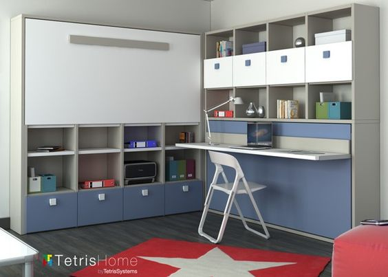 Habitaci n juvenil con dos literas abatibles sistema for Habitacion con litera