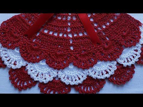 Saia De Croche Para Boneca Pintada Em Pano De Prato Bico Rendado Parte 1 Youtube Biquini De Crochet Padrao Saquinho De Croche Panos De Cozinha De Croche