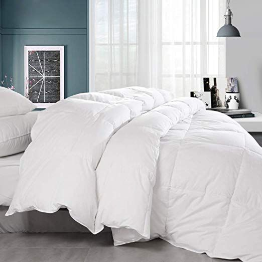 Amazon Com Balichun Premium Goose Down Comforter Solid White Soft 1500 Thread Count Cotton Shell 750 Fill Power Down D Down Comforter Comforters Duvet