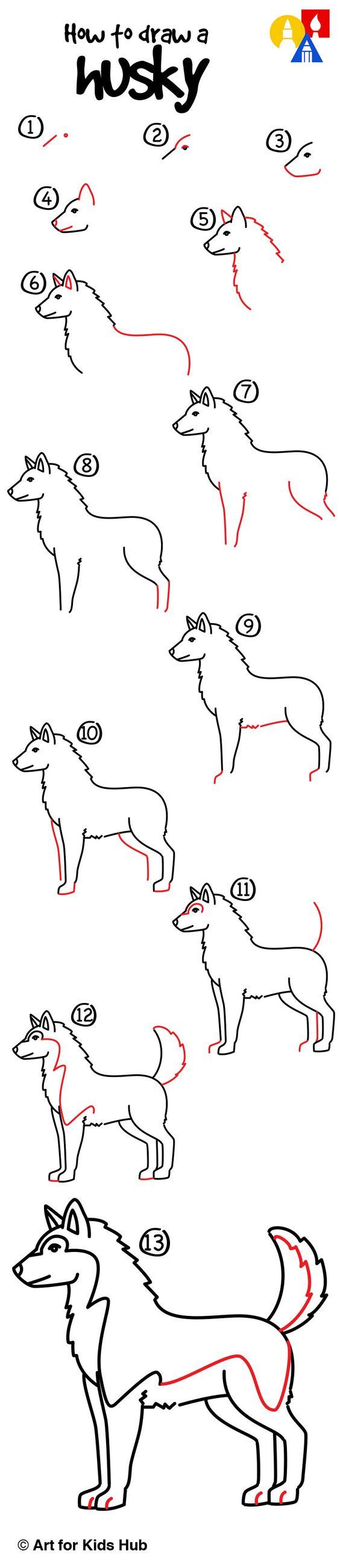 How To Draw A Dog Husky Step By Step