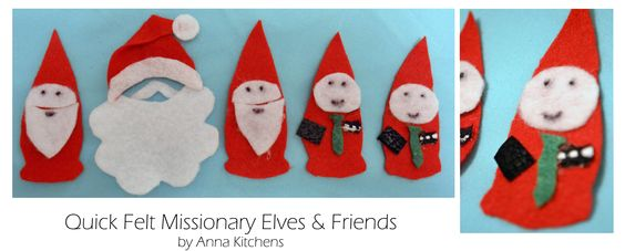 #lds #missionary elves, elves, and Santa tags/badges/decorations i whipped up for my bro. these could be diversified for sisters and colors, etc. (inspired by the West Elm felt gnomes)