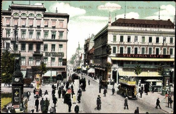 Ansichtskarte / Postkarte Berlin, Friedrichstraße, Unter den Linden, Bus, Cafe    gelaufen 1910