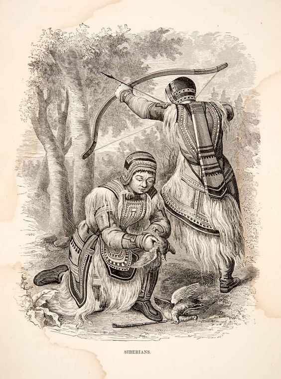 Amazon.com - 1881 Wood Engraving Siberian Indigenous People Costume Bow Arrow Fowl Hunting - Original Wood Engraving - Prints: