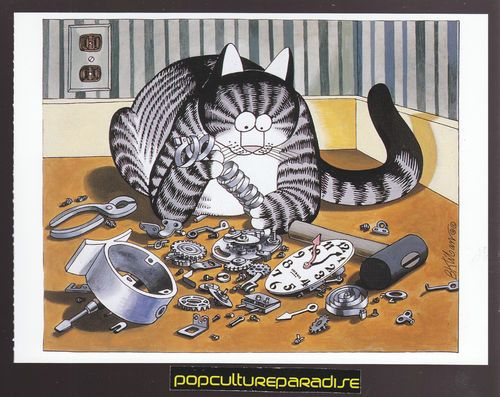 B. KLIBAN (Bernard) CATS ART POSTCARD Kitty Repairing Clock | eBay
