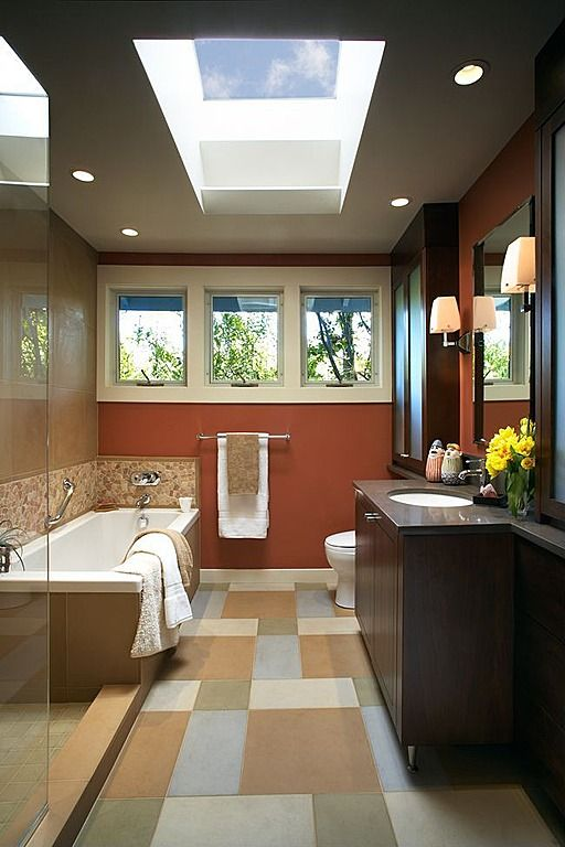 Contemporary Full Bathroom reverse layout for the lake house