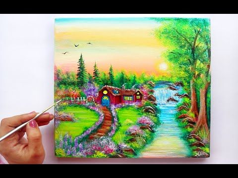 Step By Step Village Landscape Painting For Beginners Youtube