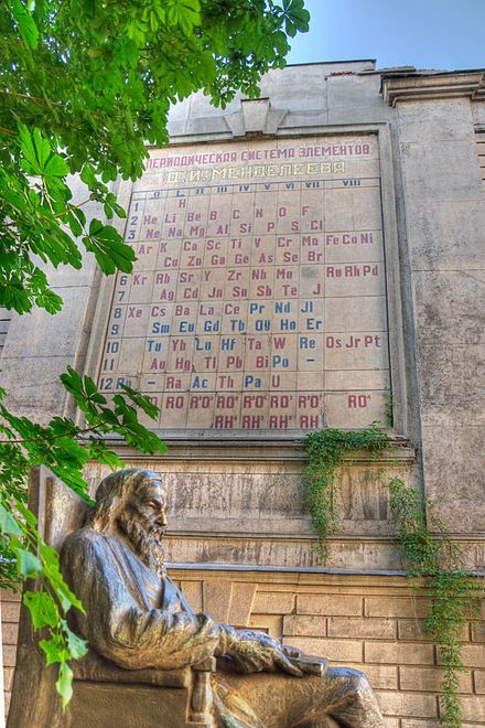 Monument to Dmitri Mendeleev (chemist, created the periodic table of elements) in St Petersburg, Russia.
