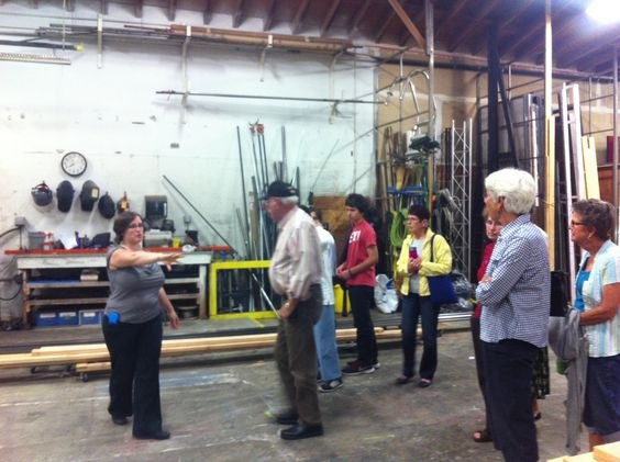 Inside Rehearsal guests tour the scene shop. http://www.calshakes.org/v4/ourplays/2014/2014_comedy.html