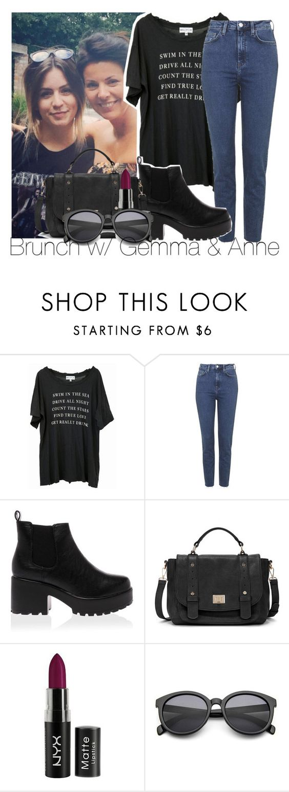 """brunch w/ Gemma & Anne"" by edna-loves-1d ❤ liked on Polyvore featuring Wildfox, Topshop and Sole Society"