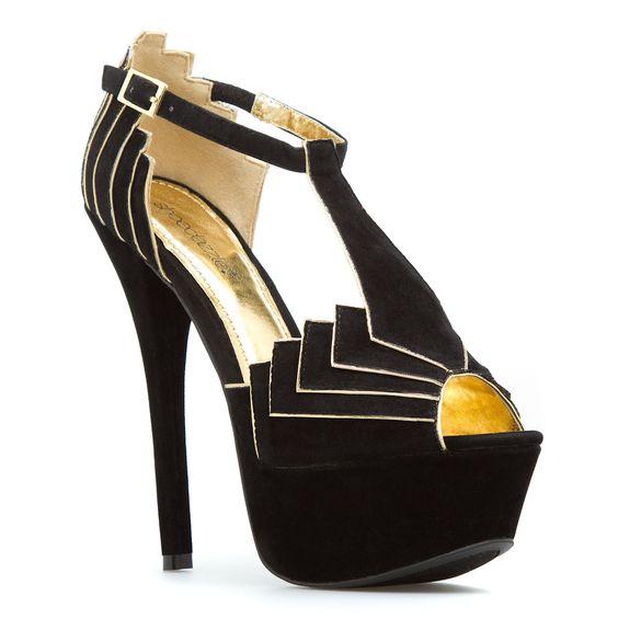 Art Deco Heels in Black + Gold