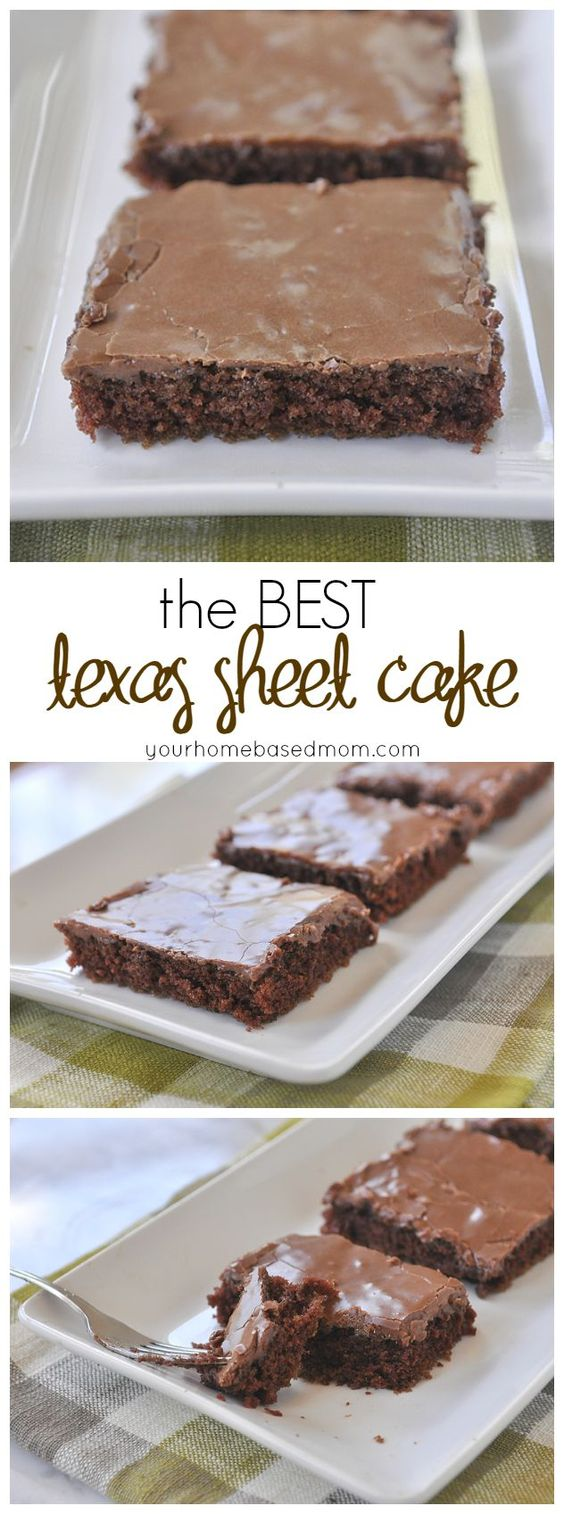 The Best Texas Sheet Cake Ever!! Yummy Chocolate Texas Sheet Cake Recipe via Your Homebased Mom - The Best EASY Sheet Cakes Recipes - Simple and Quick Party Crowds Desserts for Holidays, Special Occasions and Family Celebrations #sheetcakerecipes #sheetcake #sheetcakes #cakerecipes #cakes #dessertforacrowd #partydesserts #christmasdesserts #thanksgivingdesserts #newyearseve #birthdaydesserts