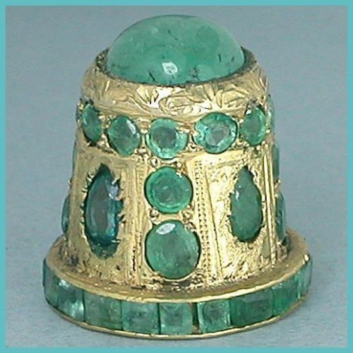 Jeweled Gilded Thimble with Emeralds
