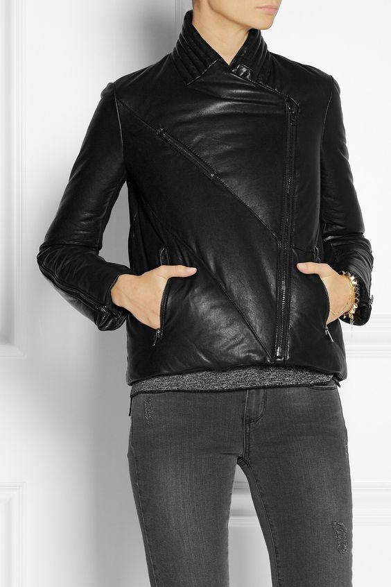 Helmut Lang|Quilted leather down coat|NET-A-PORTER.COM