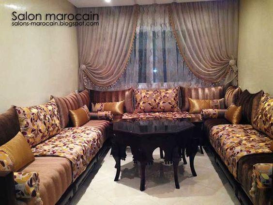 Salon marocain noir séduisant  Salon Marocain Moderne 2014   rideau ...