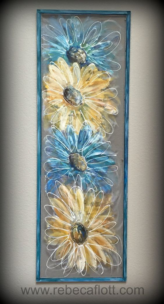 Flowers Blue And Yellow Flowers Hand Painted Window Screen