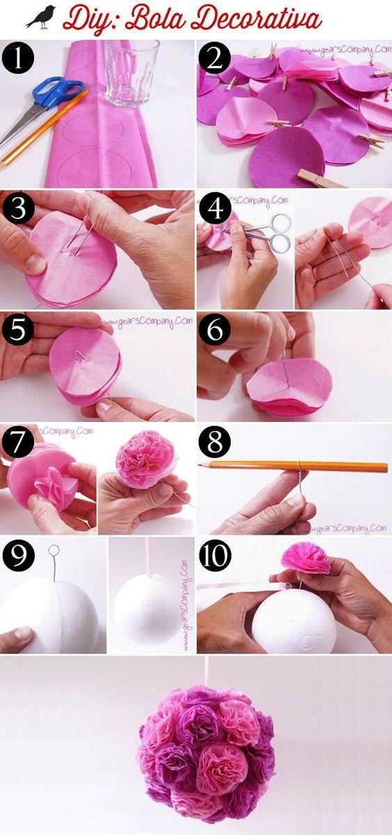 bola decorativa de papel, bola de flores, faça voce mesmo, diy, decoração festa: