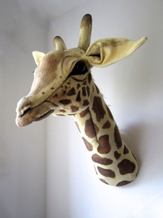 Hand sculpted giraffe trophy - OOAK