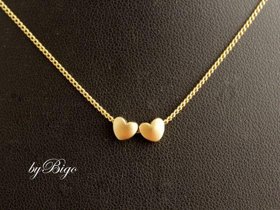 Ketten kurz - Two Hearts - Halskette in Gold - ein Designerstück von byBigo bei…