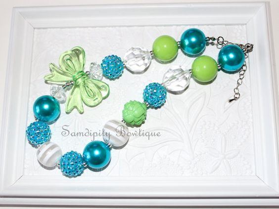 Green and Turquoise Chunky Bubblegum Bead Necklace by SamdipityBowtique, $21.95