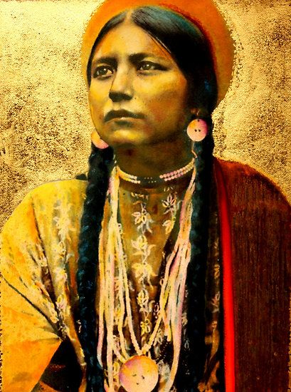 "Jane Marie Lauren - ""Lakota Maiden"" mixed media oil painting"