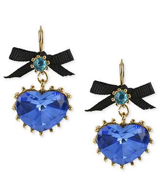 Betsey Johnson Gold-Tone Blue Crystal Heart Drop Earrings ~ YES PLEASE!!!