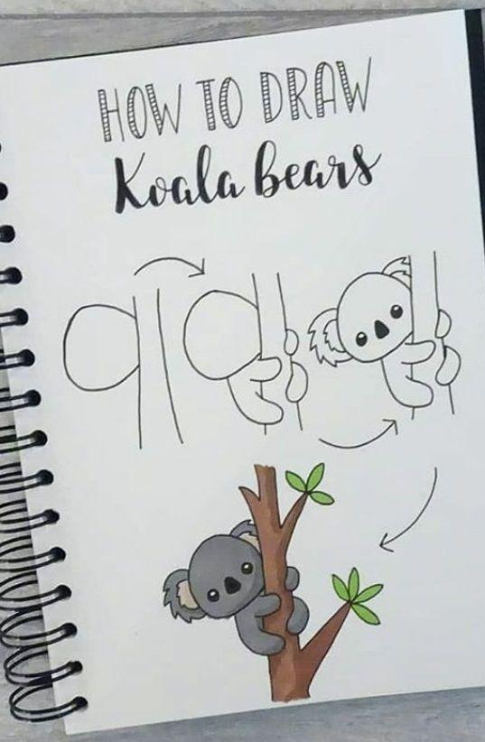 Dibujo Paso A Paso Koala Doodle Art For Beginners Easy Doodle Art Easy Drawings