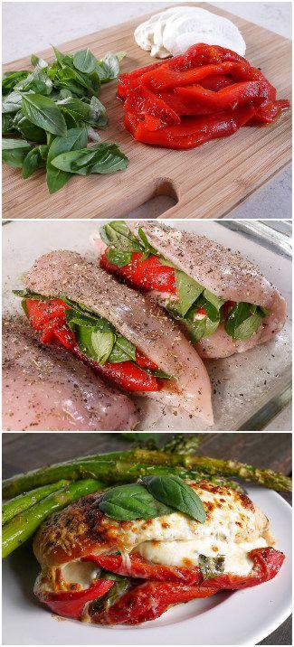 geröstete Paprika, Basilikum als Füllung für Hähnchen-Fleisch