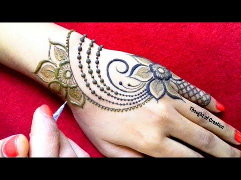 Front Hand Stylish One Sided Simple Mehndi Designs