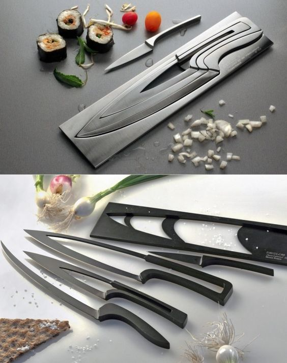 These nesting knives with hollow centers make storage easy while also offering sharp edges and comfortable handling.