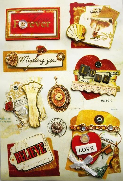 stickers for scrapbooking | NEW 3D Sticker Scrapbook Embelishment love story 13