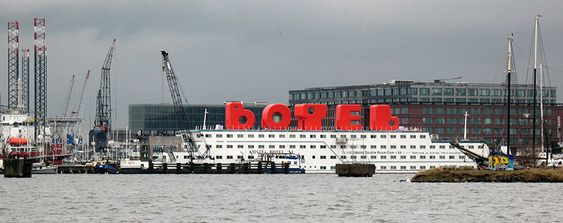 Botel, a floating hotel in Amsterdam by MMX Architecten - the letters on the roof are actually hotel rooms