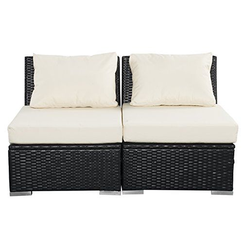 Outdoor Wicker Patio Furniture Sectional Cushioned Rattan