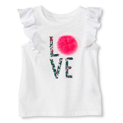 Toddler Girls' Flutter Sleeve Love Tee - White