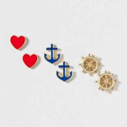 Anchor and Ships Wheel Stud Earrings Set of 3