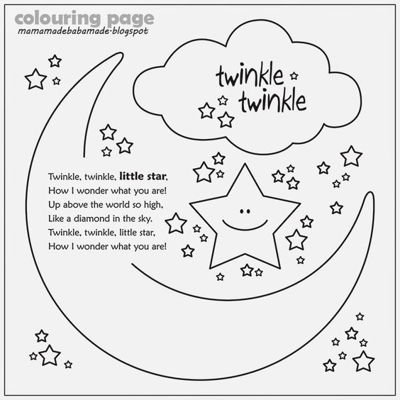 Twinkle Twinkle Little Star Coloring Page | Bulbulk Com | Fun ...