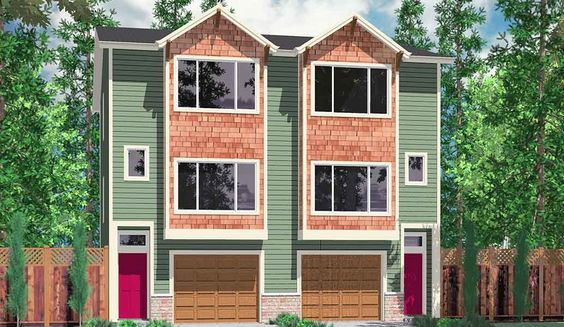 Duplex design duplex house plans and duplex house on for Narrow townhouse plans