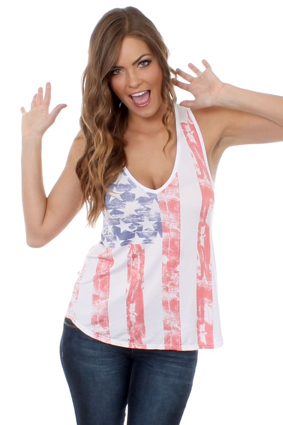 Women's Faded American Flag Tank Top | Tipsy Elves